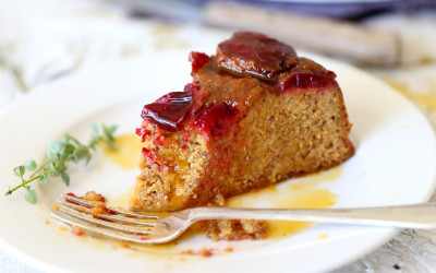 Plum and Orange Ginger Cake with Thyme Syrup
