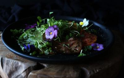 Heirloom Tomato Salad with Micro Greens & Edible Flowers