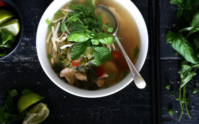 Vietnamese Style Pho Ga (Chicken Broth) with Zoodles