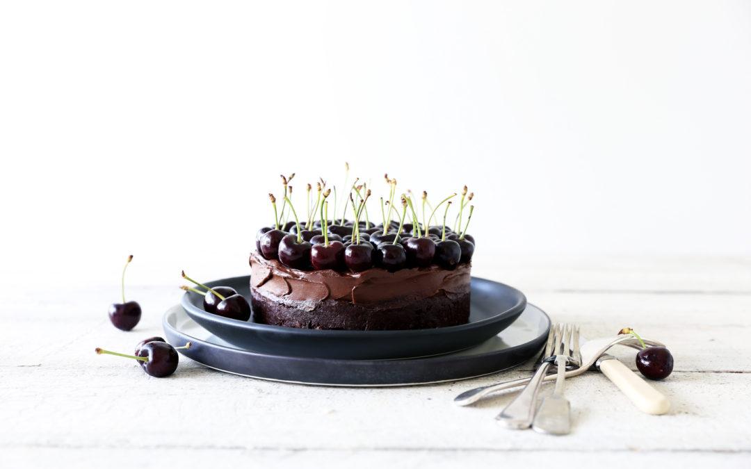 Raw Chocolate Brownie Mousse Cake with Dark Cherries