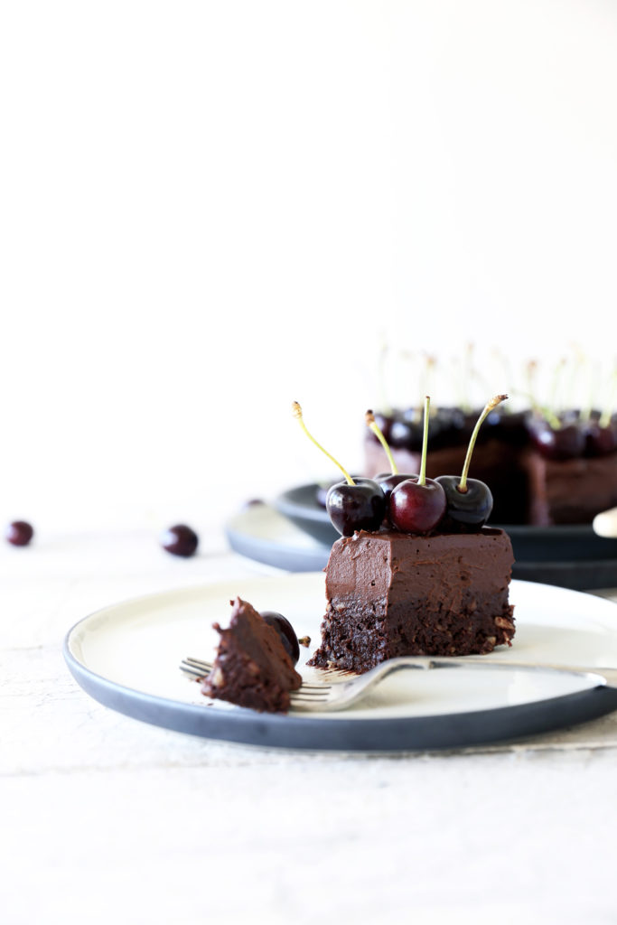 Raw Chocolate Brownie Mousse Cake with Dark Cherries - Swoon Food