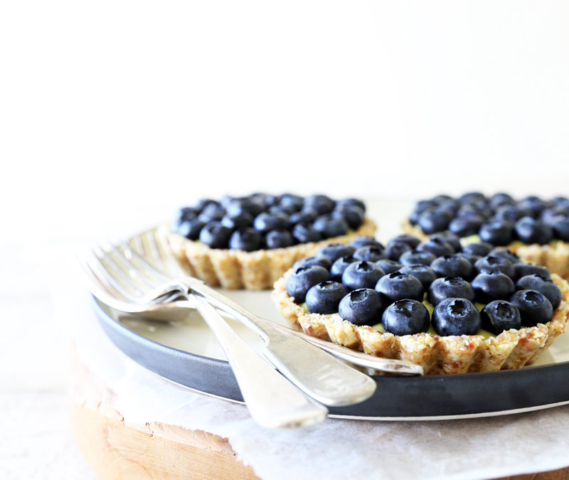 Raw Blueberry Tarts with Tahitian Lime Cream