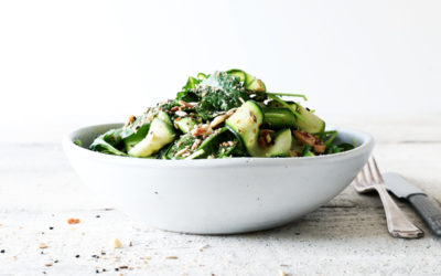 Courgette, Avocado and Kale Salad with Almond Dukkah