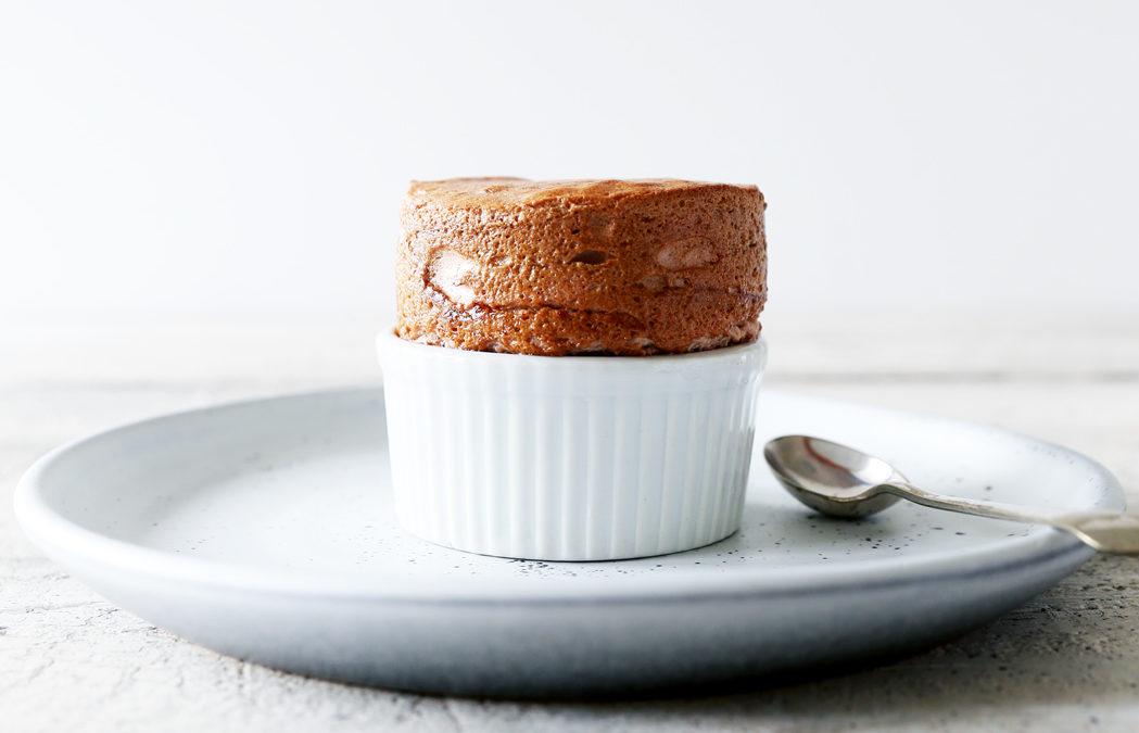 Caramelised Rhubarb Soufflé's with Coconut Caramel Anglaise