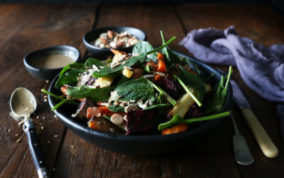Root Vegetables with Spinach, Tahini & Dukkah