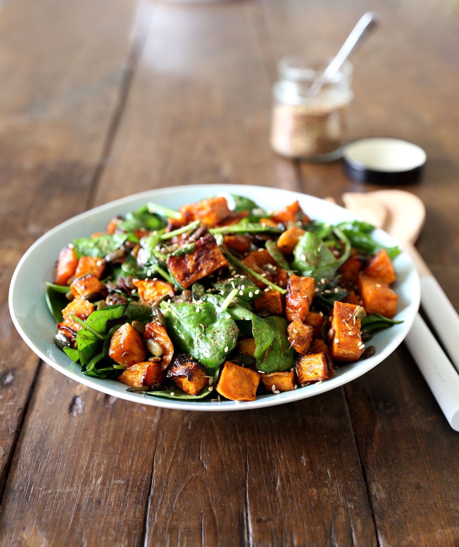 Maple Roasted Kumara and Spinach Salad with Fresh Ginger ...