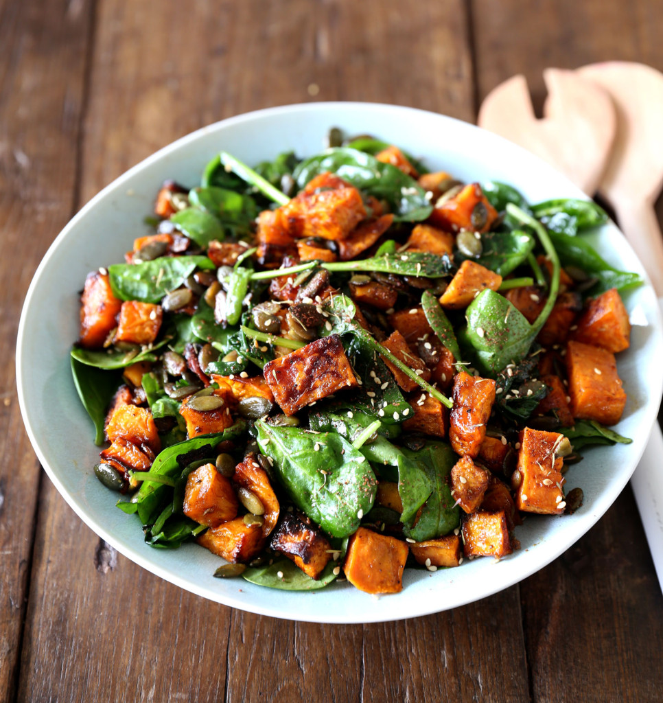Maple Roasted Kumara and Spinach Salad with Fresh Ginger and Seeds