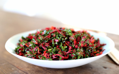 Kale and Beetroot Slaw with Spicy Chilli and Ginger Dressing