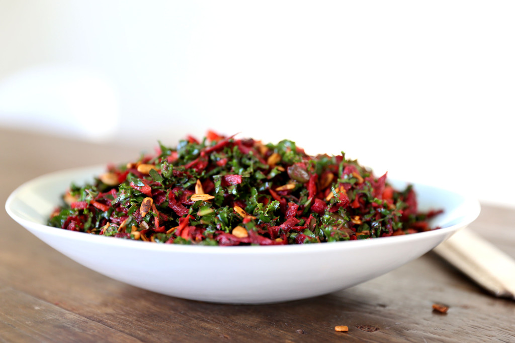 Kale and Beetroot Slaw with Spicy Chilli and Ginger Dressing by swoonfood.com