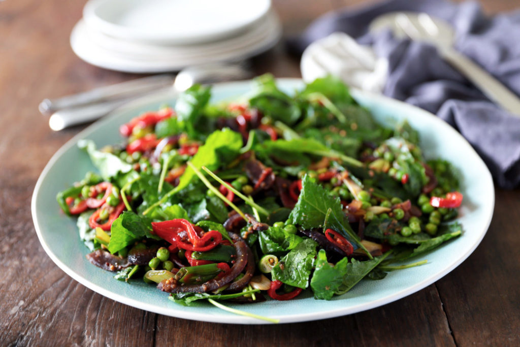 Warm Pea and Baby Kale Salad with Sweet Red Peppers