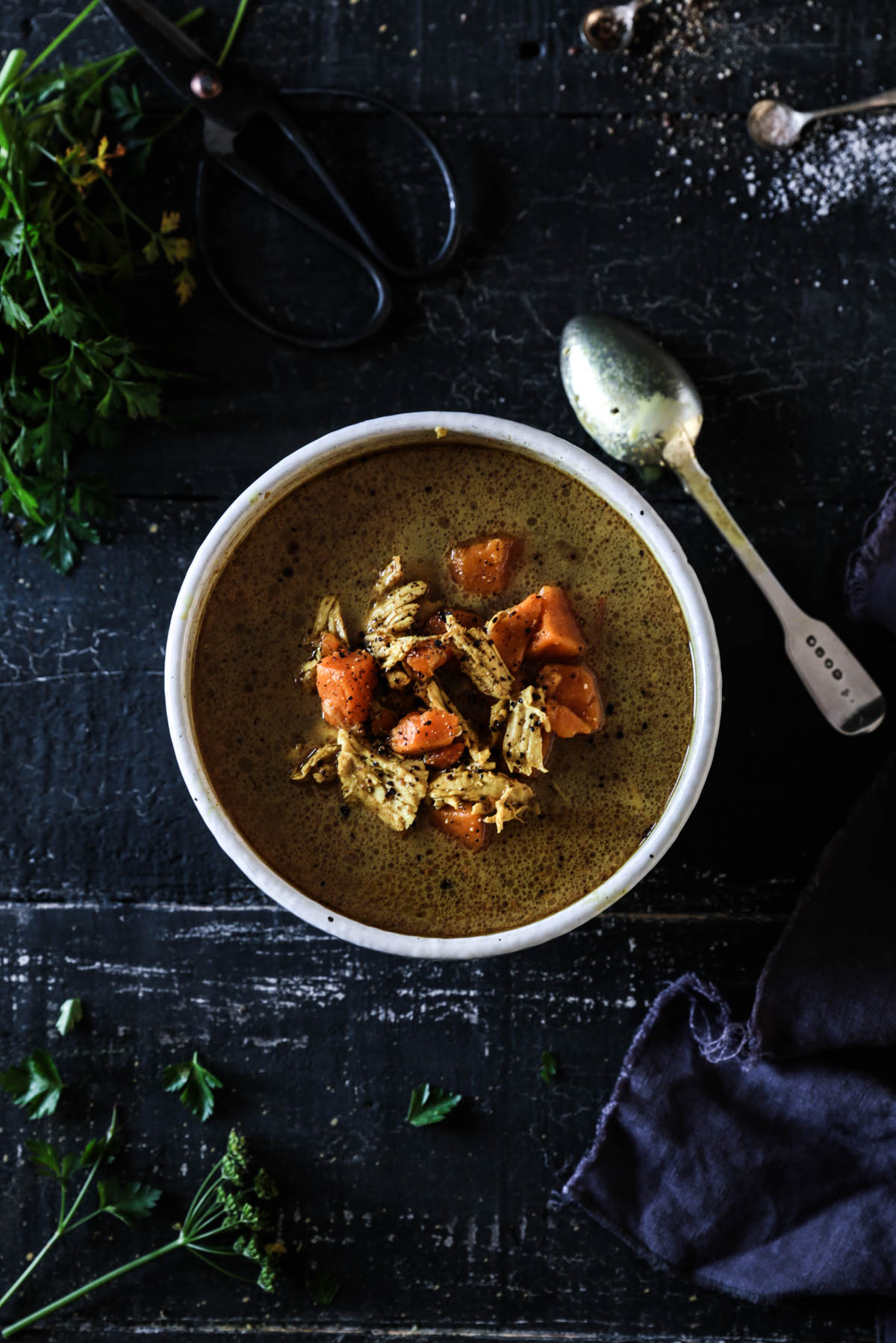 SPICED COCONUT AND KUMARA CHICKEN SOUP