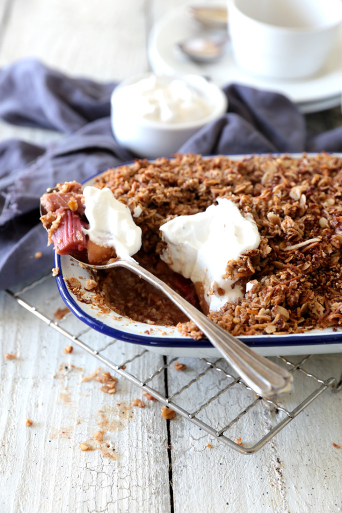 Apple and rhubarb crumble with coconut yoghurt