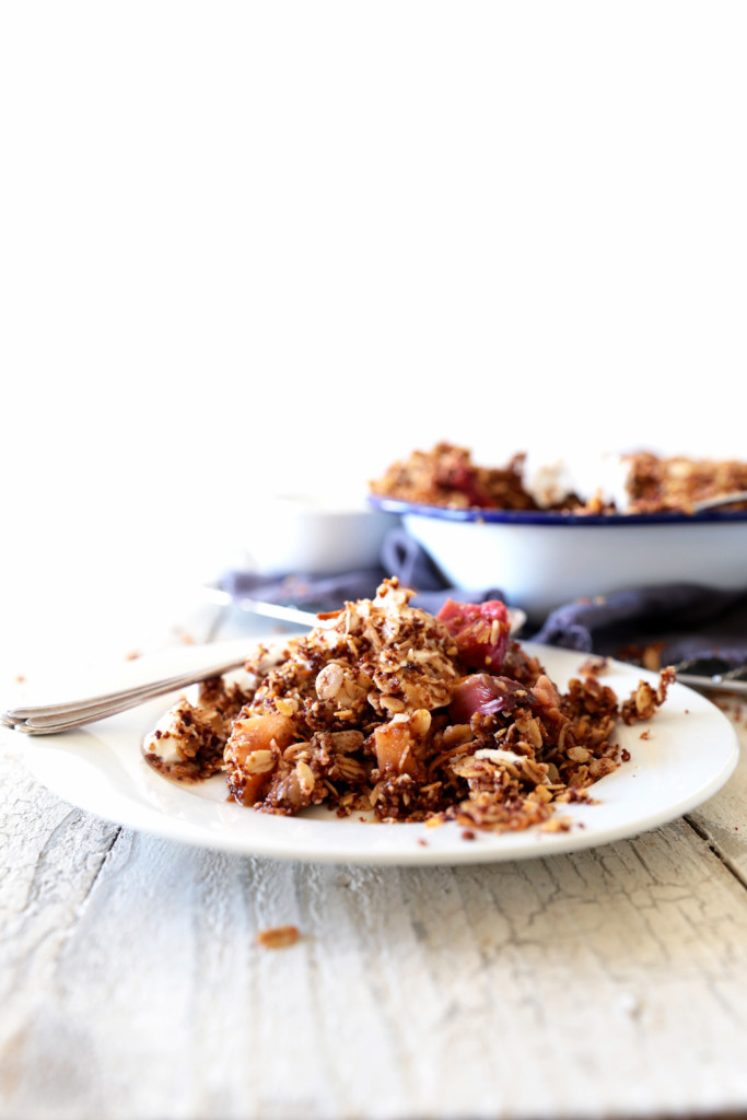Apple and rhubarb crumble with coconut yoghurt (a dairy free recipe)
