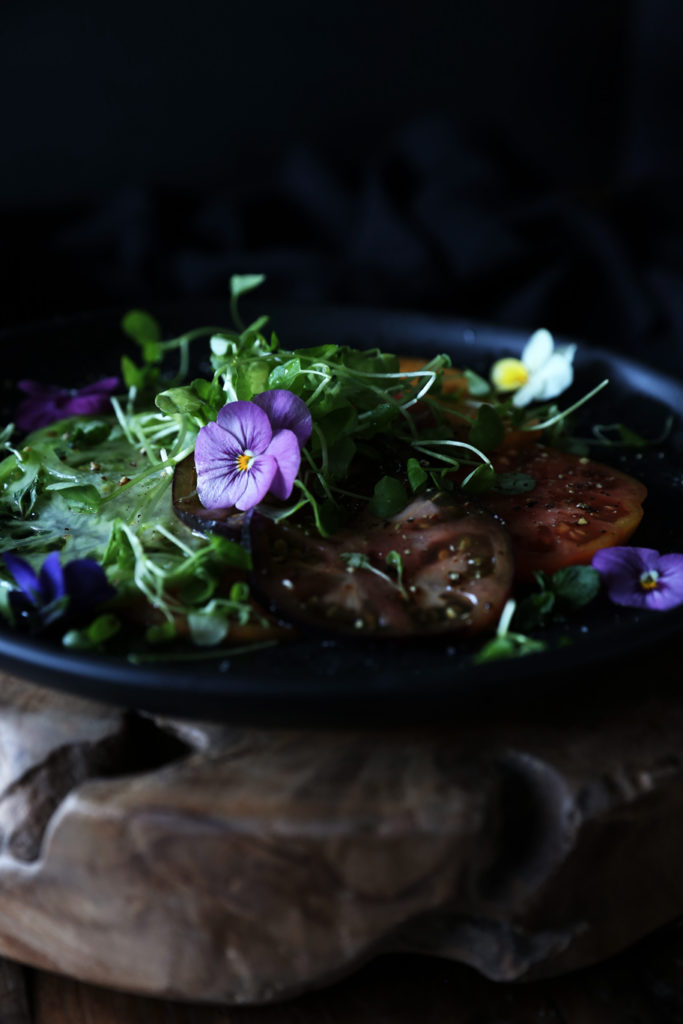 Heirloom Tomato Salad with Micro Greens & Edible Flowers