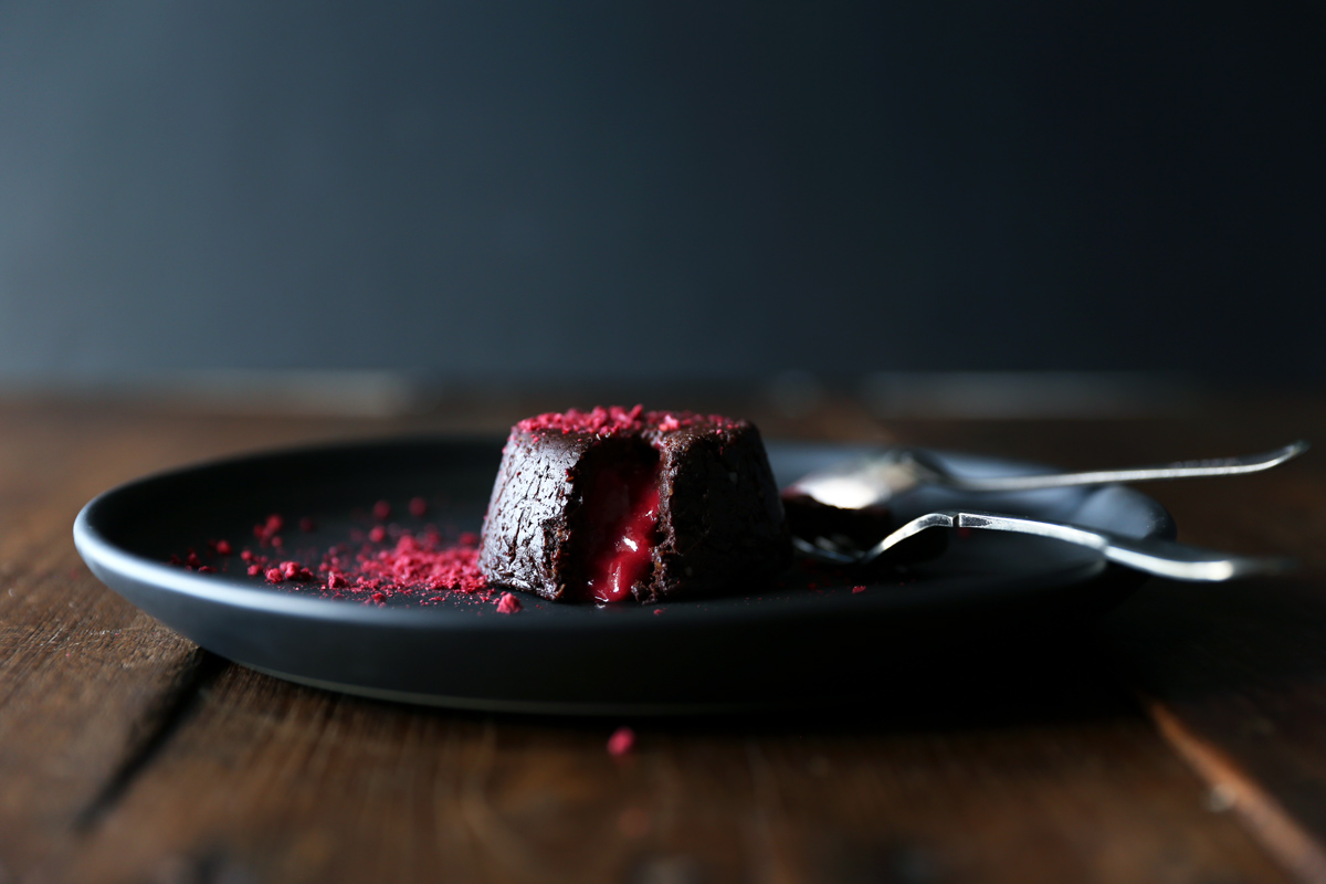 Raw Chocolate and Raspberry Lava Cakes