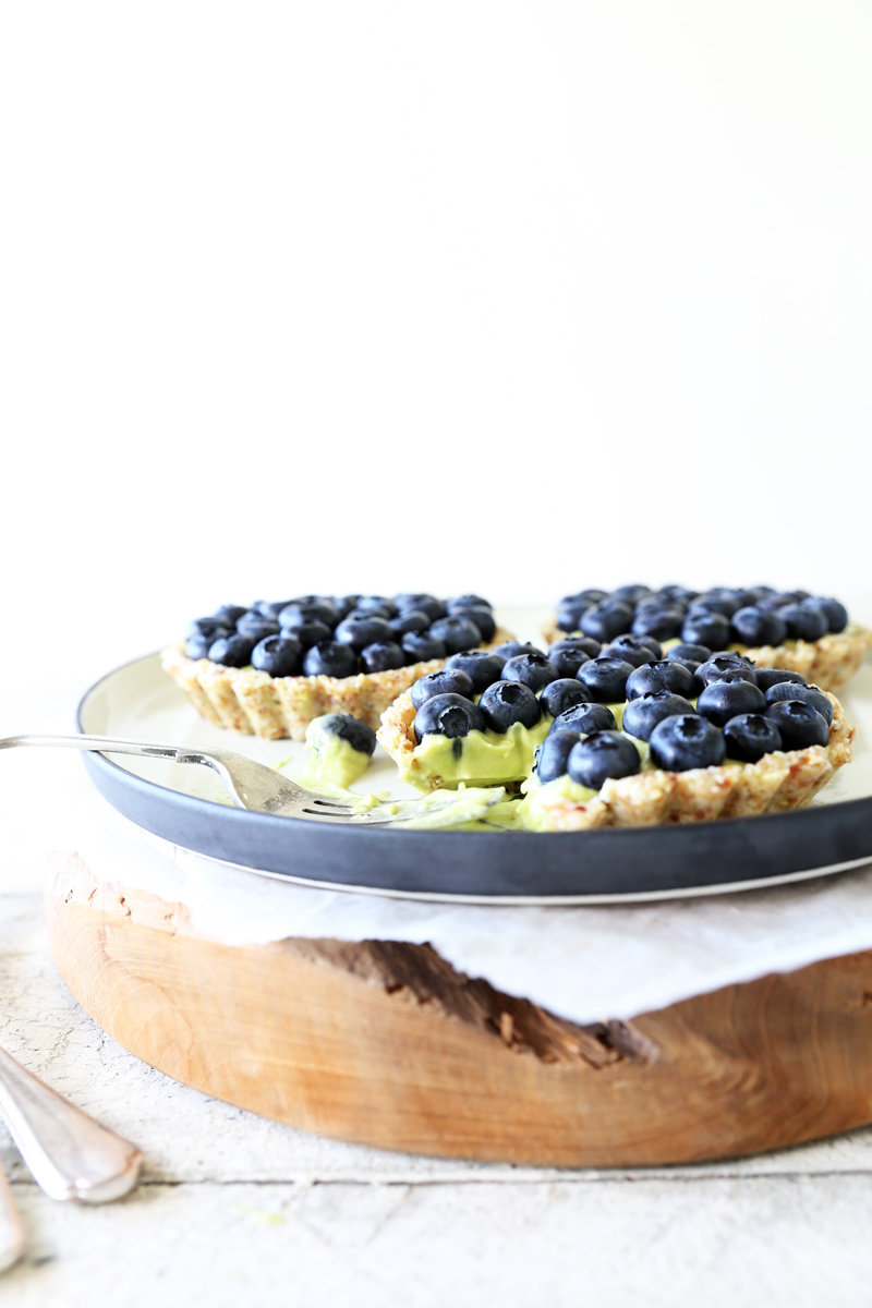 Raw Blueberry Tarts with Tahitian Lime Mousse Cream