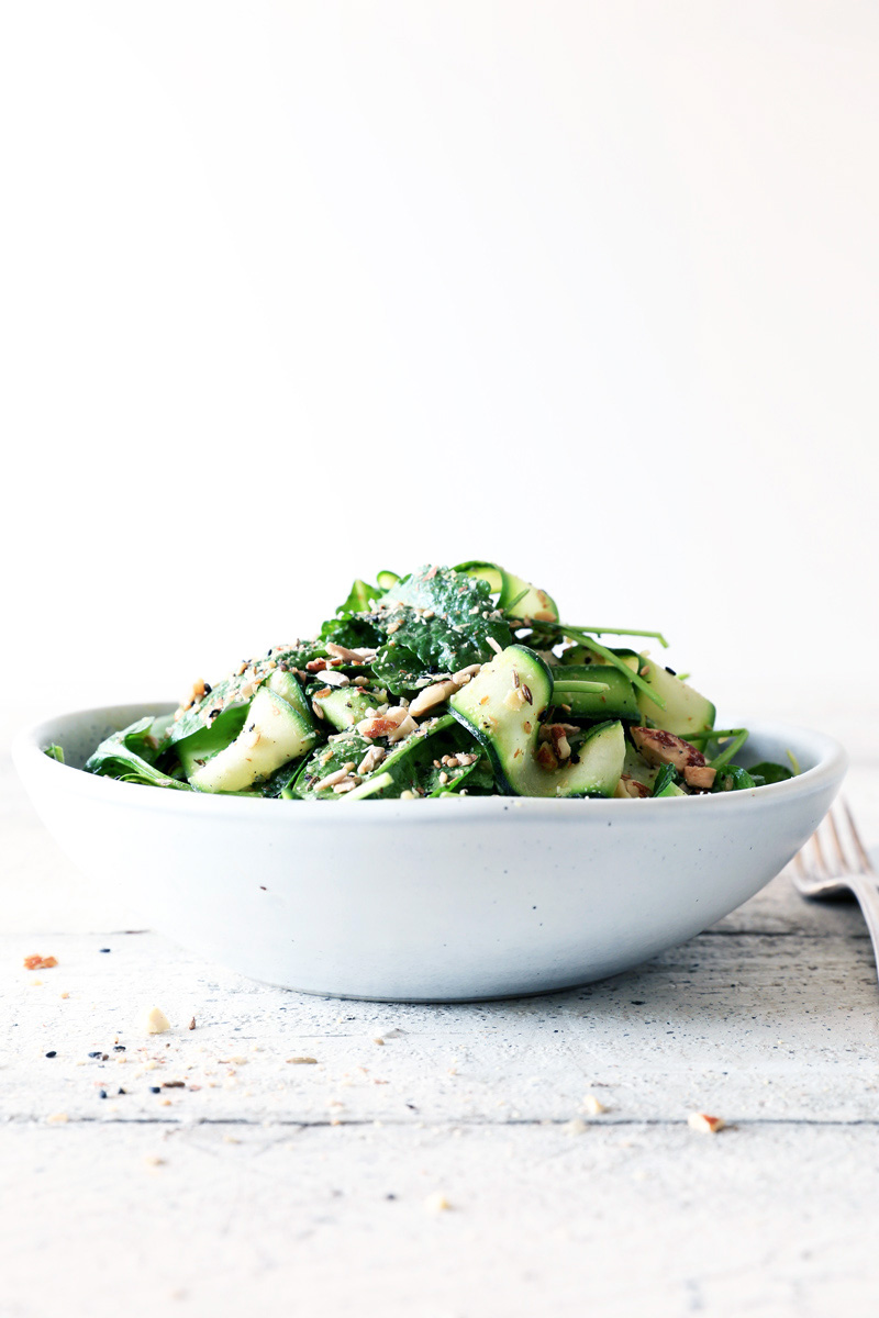 Courgette Strip Salad with Avocado, Kale and Almond Dukkah