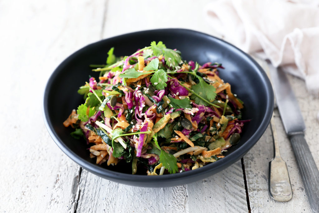 Smoke and Fire Kale Slaw with Coconut, Lime and Ginger