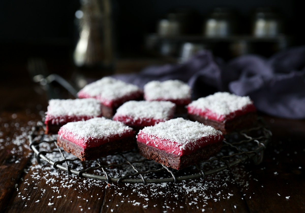 Raw Chocolate & Raspberry Lamington Slice