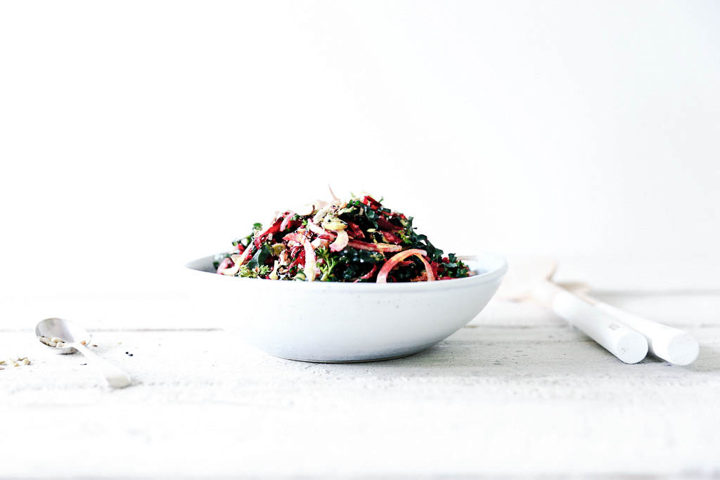 Fennel, Kale and Beetroot Slaw with Hazelnut Dukkah and Ginger Turmeric Dressing