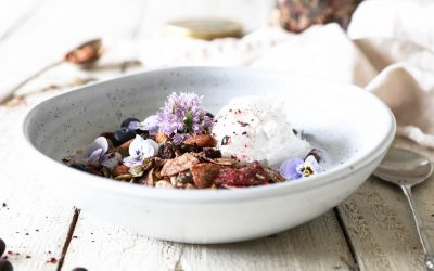 Blackcurrant and Coconut Buckwheat Granola (Raw Activated)