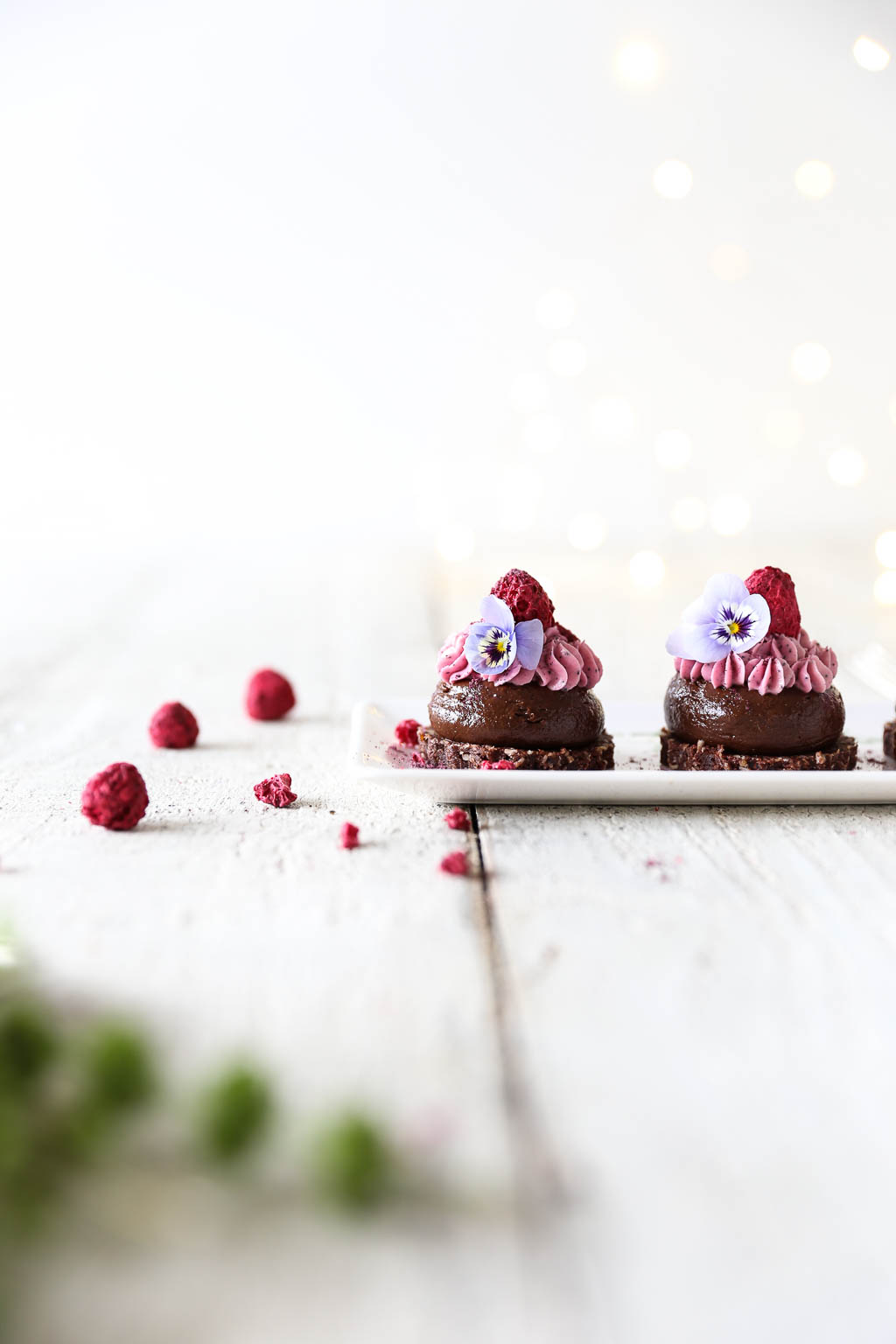 Raw Chocolate Mousse Kisses with Raspberry Cheesecake Frosting