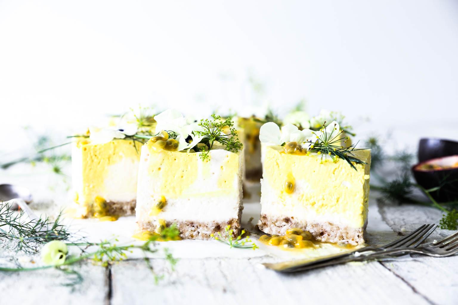 Mango & Passionfruit Coconut Yoghurt Cheesecake