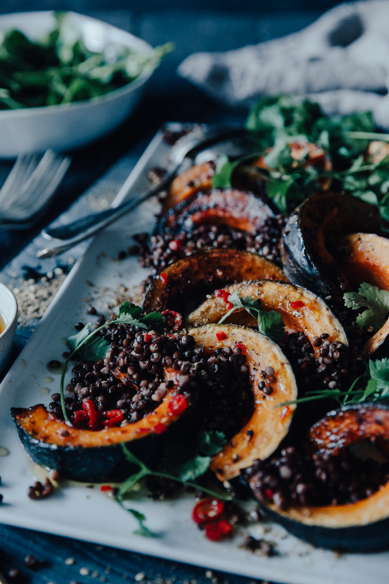 Roast Pumpkin, Spinach & Lentil Salad with a Lemon Chilli Dressing