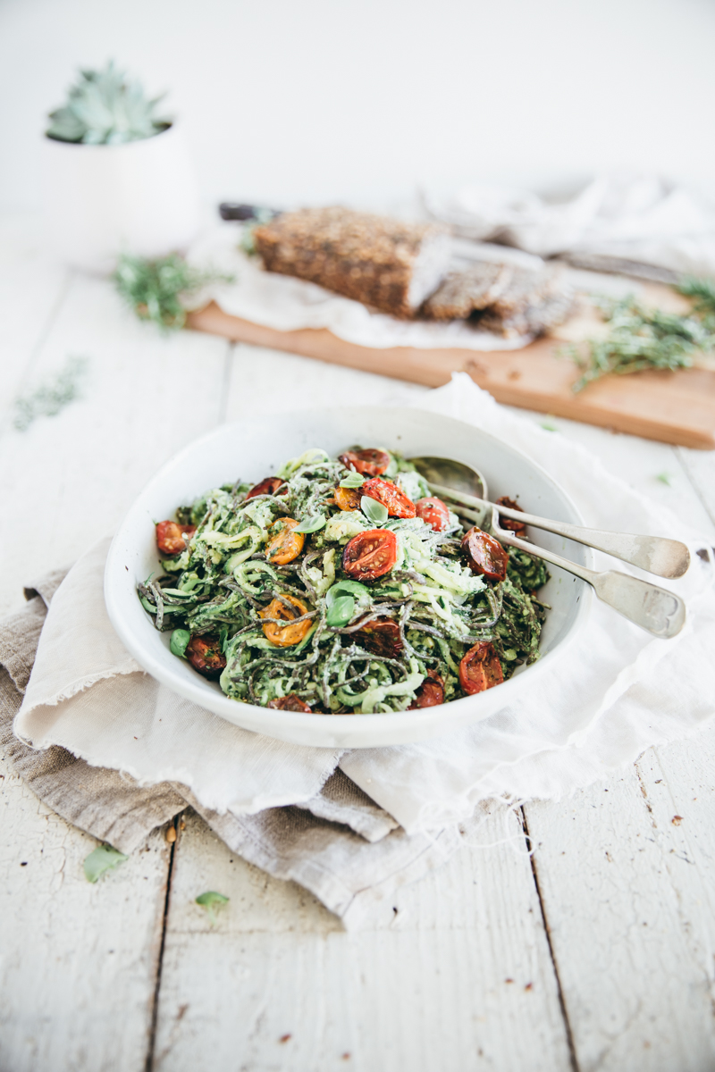 Basil Zoodles with Roasted Tomatoes (Vegan/Gluten free)