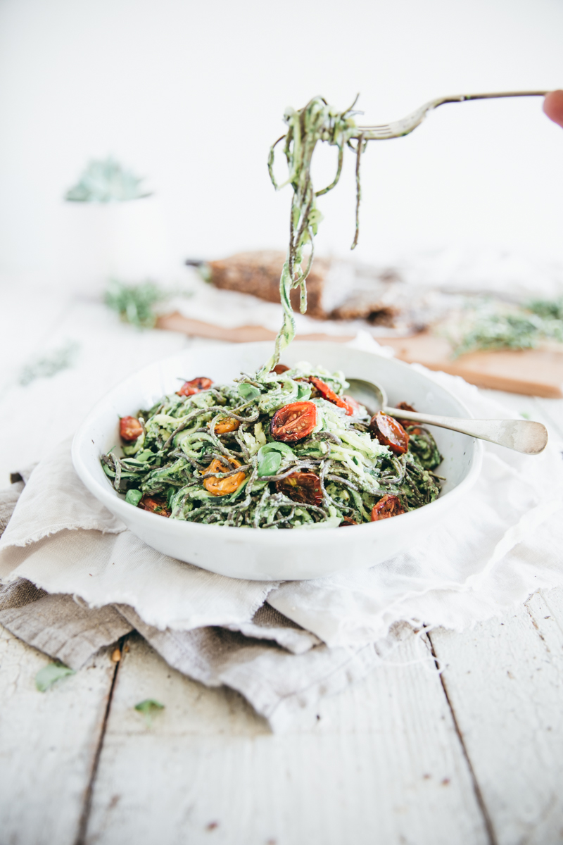 Basil Zoodles with Roasted Tomatoes