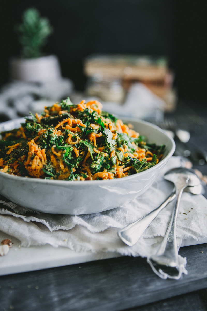 Moroccan Carrot & Kale Salad with Preserved Lemon & Sumac Dressing