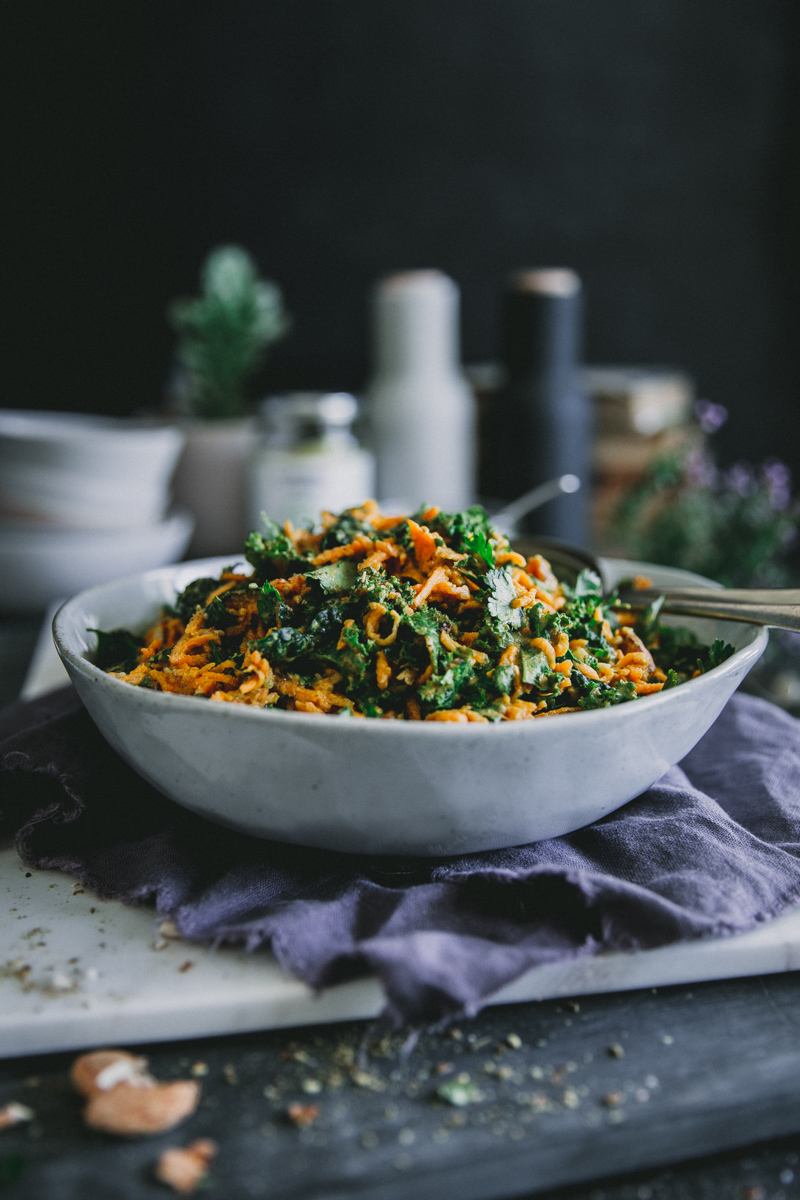 Moroccan Carrot & Kale Salad with Preserved Lemon &