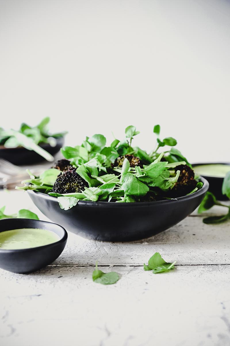 Roasted Broccoli Salad with Green Goddess Dressing