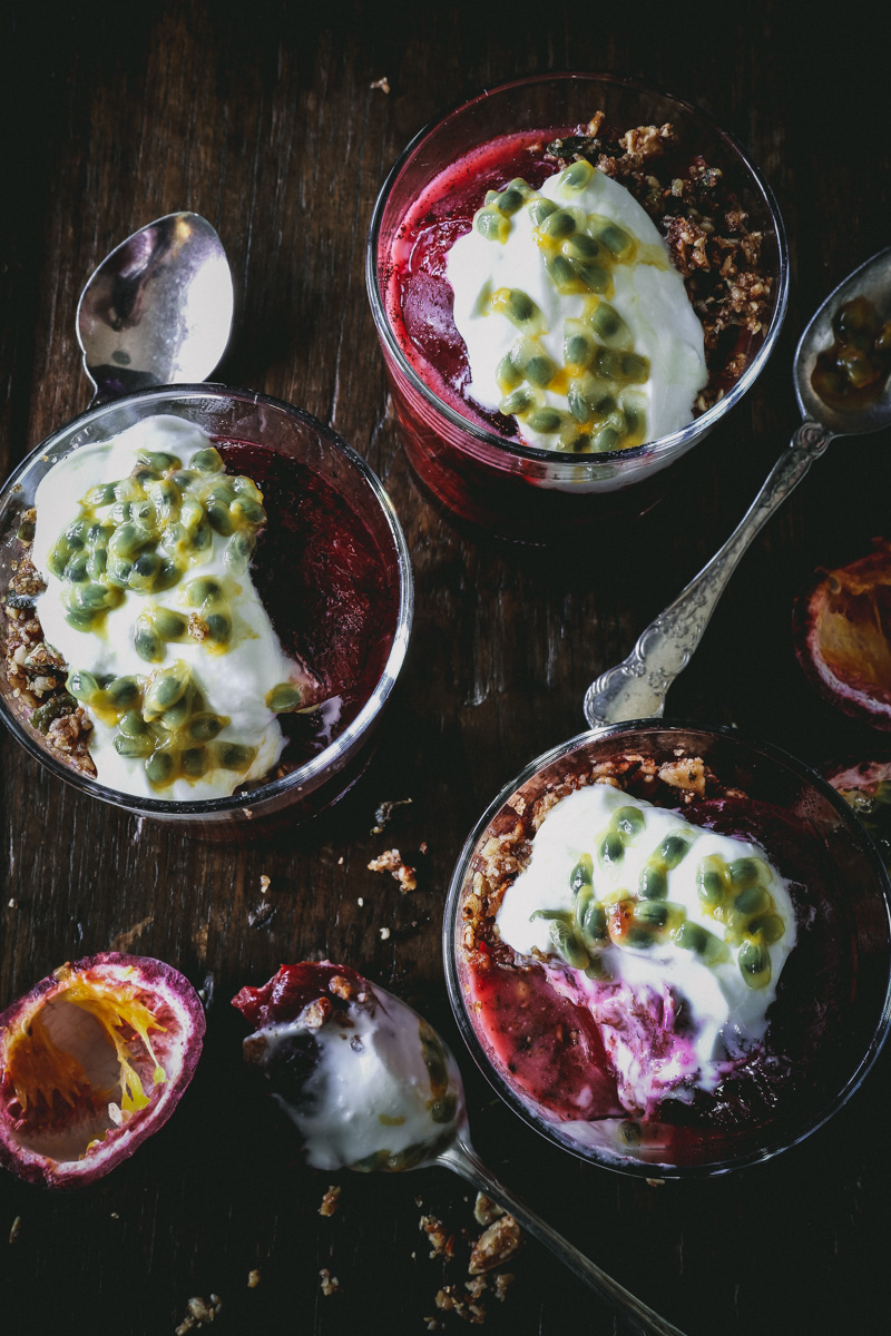 Vanilla & Cardamom Roasted Plums with Nut Crumble