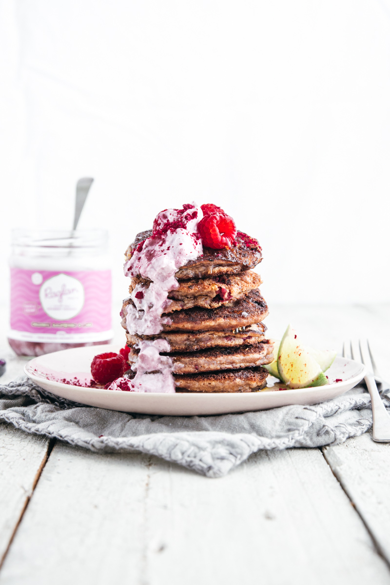 Apple & Raspberry Buckwheat Pancakes