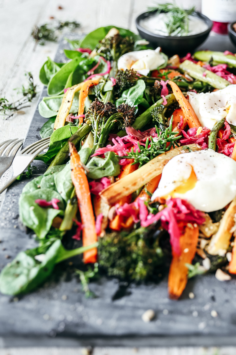 Roast Parsnip, Carrot & Broccolini Salad with Wild Kraut & Coconut Yoghurt