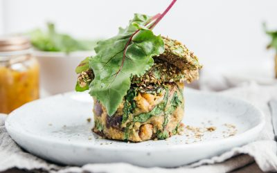 Kumara Chickpea Cakes with Dukkah Avocado (Vegan, Gluten + Sugar Free)