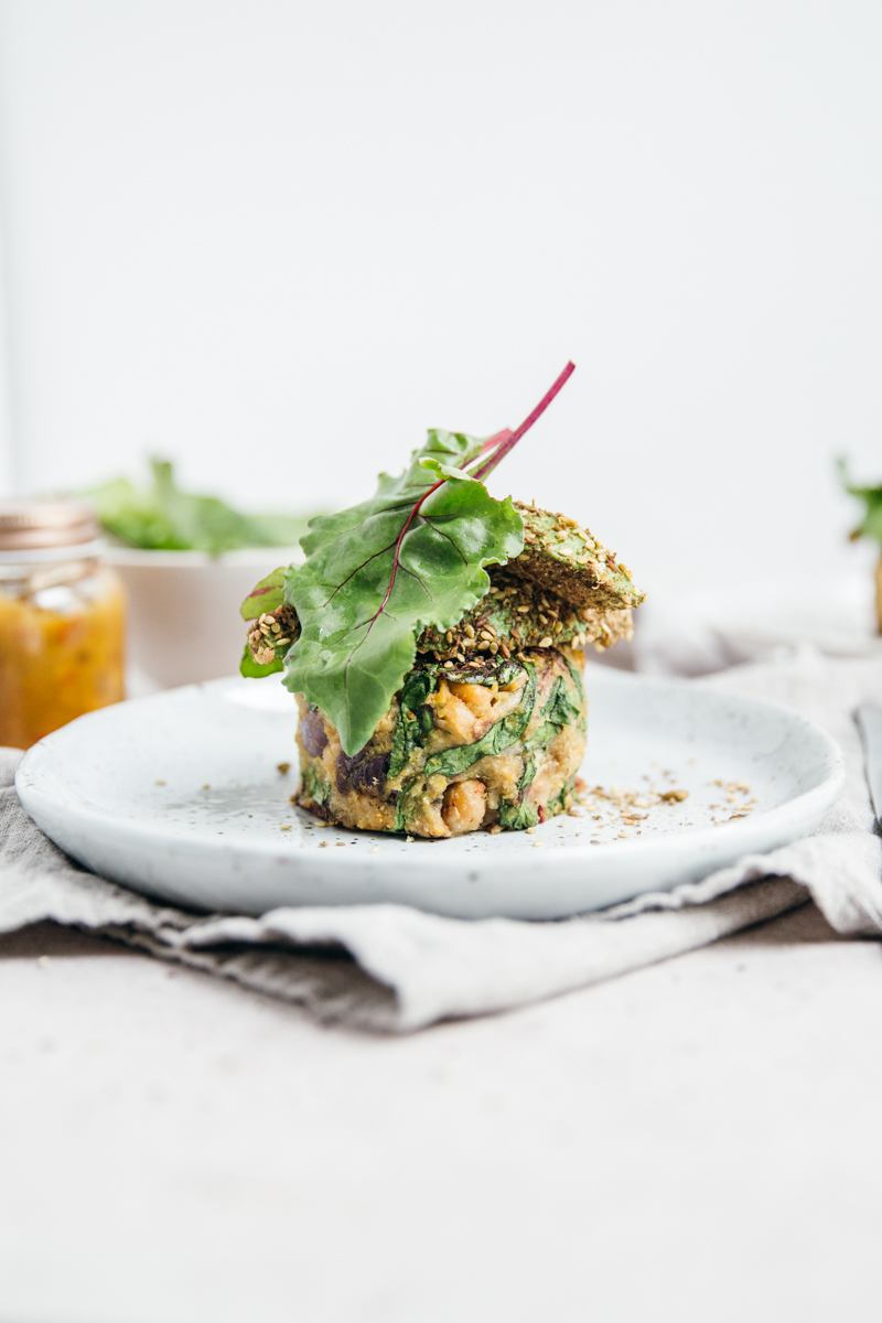 Sweet Potato Chickpea Cakes with Dukkah Avocado