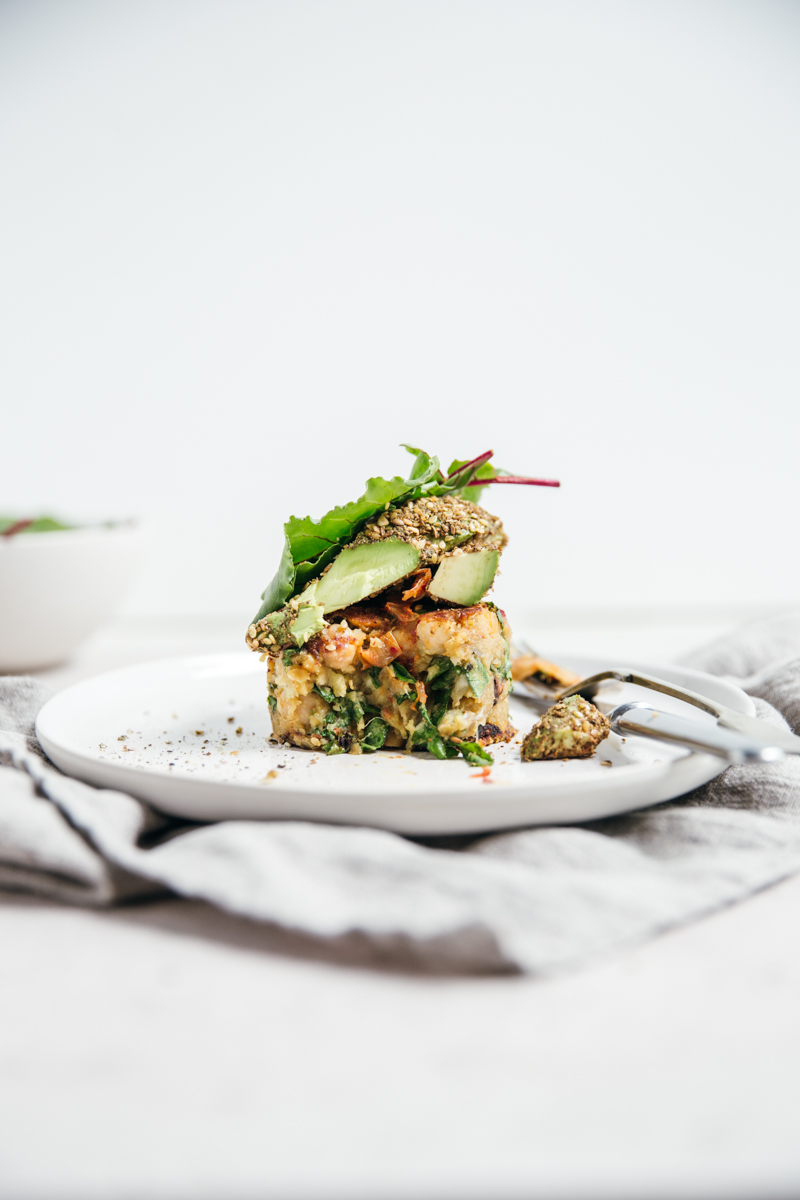 Sweet Potato Chickpea Cakes with Dukkah Crusted Avocado