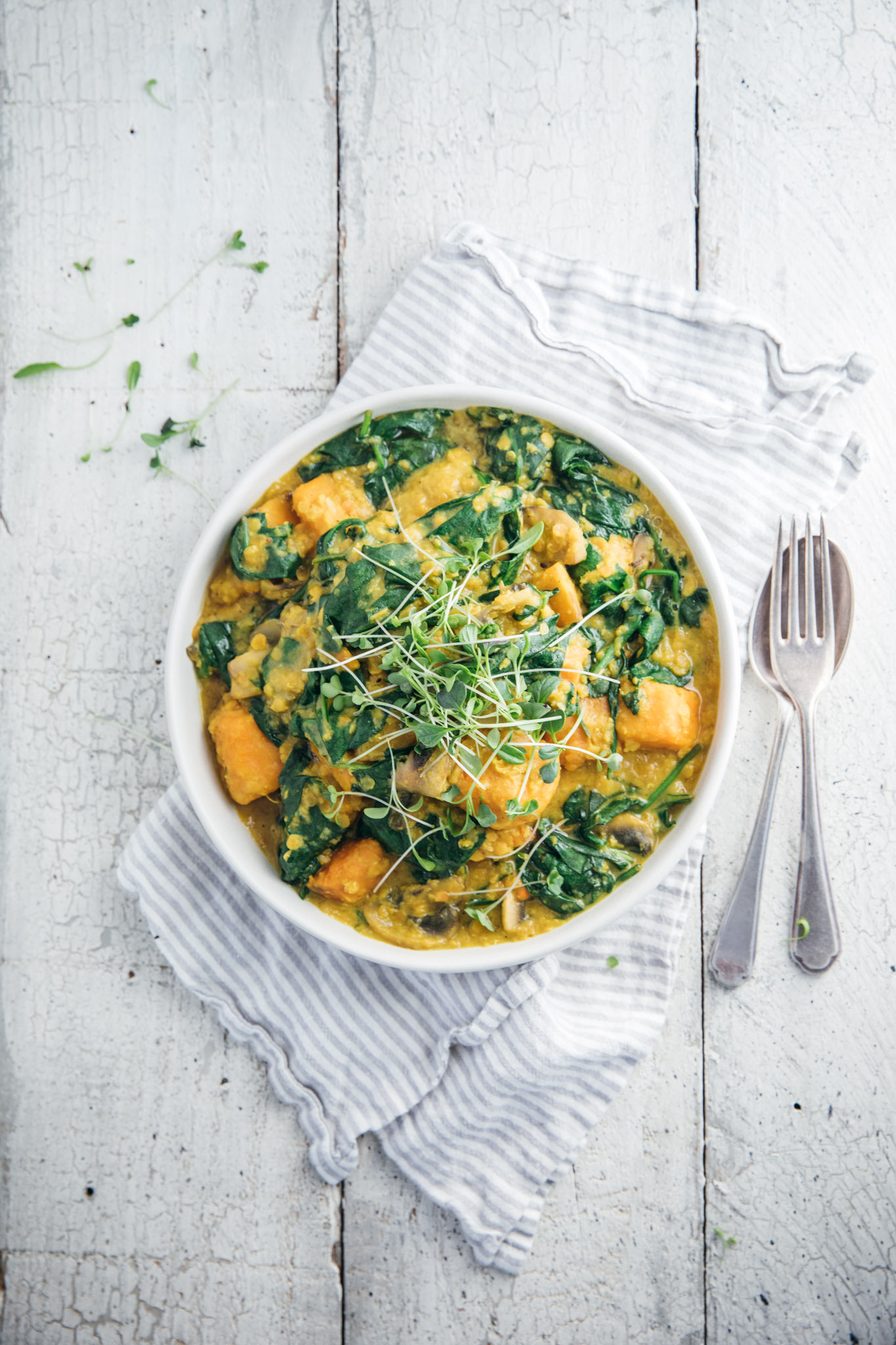 Weeknight Sweet Potato & Spinach Dhal